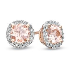 Morganite and Diamond Stud Earrings