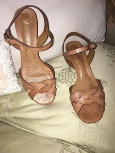 409dd09f7d7 Anthropologie Vicenza Tan Leather Strap Around Sandal Heel EU 40 US 9   fashion  clothing