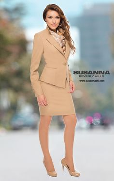 Gorgeous tan career suit - Exquisite tailoring shapes this one-button tan jacket. Worn here with a matching camel slim skirt for just the right amount of office glamour. A successful womens suit. The famous pantsuit. By celebrity fashion designer Susanna Beverly Hills www.susannabh.com