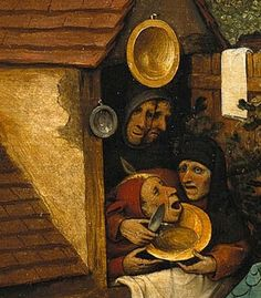 """Detail from Netherlandish Proverbs, Pieter Bruegel, shave the fool without lather"""">>To trick somebody. fools under one hood"""">>Stupidity loves company. Renaissance Paintings, Renaissance Art, Jan Van Eyck, Pieter Brueghel El Viejo, Pieter Bruegel The Elder, Hieronymus Bosch, Dutch Golden Age, Paint Photography, Medieval World"""