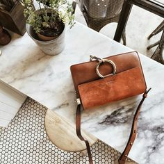 brown/tan Chloe Faye handbag   small size   suede flap   gold metal ring & chain   adjustable strap   retro   minimal chic