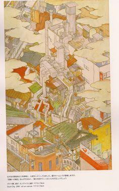 Yamaguchi Akira - Duct city 2001 oil on canvas 117.5 x 74.