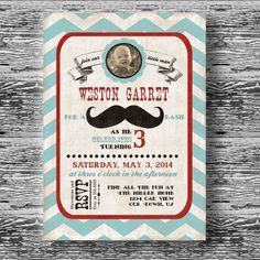 Vintage Mustache Bash Decorations for Boys Birthday by BeeAndDaisy, $12.00