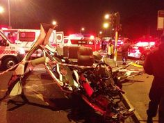 * KZN horror crash * | 24 people died in a horror crash on Field's Hill near Pinetown, KwaZulu-Natal, on Thursday evening when an 18-wheeler truck carrying containers ploughed into four fully-laden minibus taxis and a car. Photo: @ER24EMS