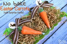 No bake Easter carrots made with ice cream cones (add jelly beans inside). FREE printable - Design Dazzle