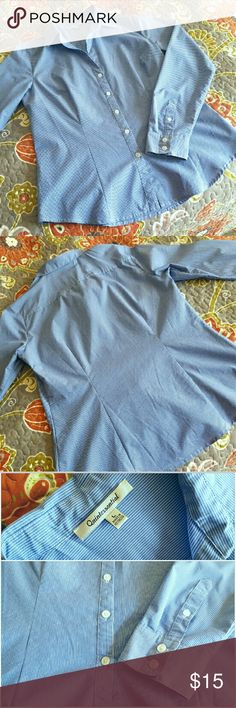 """Women's Dress Shirt (S) """"Business blue"""" pinstripe button down shirt with full length sleeves. 20"""" armpit to armpit with a little stretch; 27"""" from collar to hem. Made of 37% Polyester, 32% Cotton, 27% Nylon, 4% Spandex. Vest not included, available in separate listing. Quintessential  Tops Button Down Shirts"""