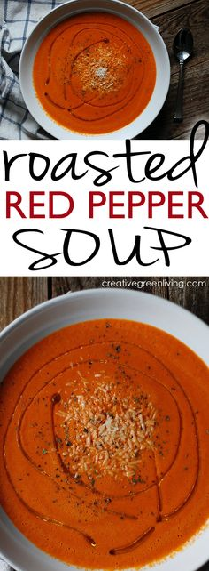 An easy, creamy, roasted red pepper soup recipe - this looks divine! It's gluten free, paleo and whole 30 compliant, too. paleo dinner on a budget Roasted Red Pepper Soup, Roasted Red Peppers, Hot Pepper Soup Recipe, Green Pepper Soup, Red Pepper Recipes, Paleo Soup, Healthy Soup, Healthy Foods, Stuffed Pepper Soup