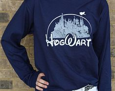 Harry Potter Clothing Hogwarts Castle Navy Blue Long Sleeve Shirt Unisex Adults