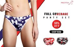 Get 50% off on Full Hip Coverage Panty Set , get multiple color and Design. Shop online on http://www.prestitia.co.in/products/panties.html