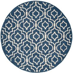 Cambridge Navy Blue/Ivory 6 ft. x 6 ft. Round Area Rug