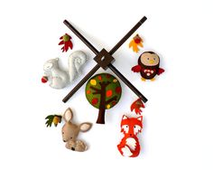 Woodland mobile  Forest friends  baby crib by LullabyMobiles