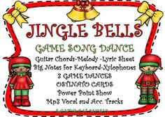 """Jingle Bells"" is my HOLIDAY THANK YOU FREEBIE Game-Dance. You get Mp3 Vocal and Accompaniment Tracks, Sheet music for Piano, Orff arrangement, Melody Note Names, Power Point Show for teaching, Ostinato Cards, 3 different Game-Dance Directions.  The 3 different games are similar but different enough for your K-6 classes."