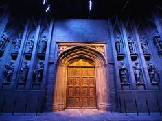 "The oak doors which mark the entrance to the ""Great Hall"" at the new Harry Potter Studio Tour at Warner Brothers Leavesden Studios."