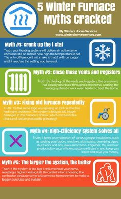Winter Furnace Myths (infographic) #furnace #furnacemyths #winter #comfortairzone #sandiego #infographic