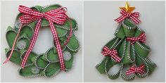 wreath & tree made with green zippers