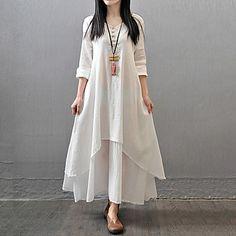 Bayanlar Pamuklu/Keten Maksi Uzun Kollu V Yaka Düğmeler/Katmanlı Bayanlar Elbise - USD $ 18.99