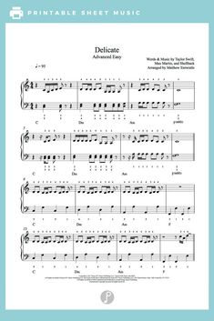 Delicate by Taylor Swift Piano Sheet Music | Advanced Level