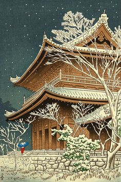 1953 - Takeji Asano - Nieve en el templo Chioin.