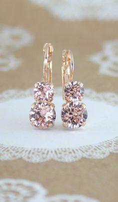 Blush crystal earrings | blush earrings | blush wedding | www.endorajewellery.etsy.com | blush bridesmaid earrings | blush bridal earrings