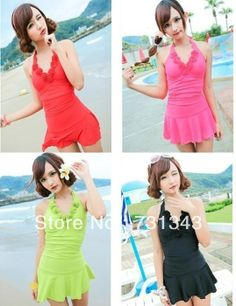 Free Shipping!One Piece Y1358 Padded Swimwear Swimsuit Swimdress Tankini with attached bottom US $18.99