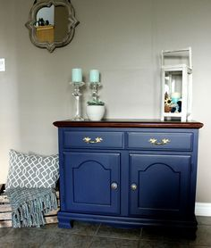 liberty blue nautical hutch re-styled by angela devries design. #fusionmineralpaint #upcycle #kawarthalakes #libertyblue #gildingpaste #nautical #gold #minwax #Jacobean #angeladevriesdesign