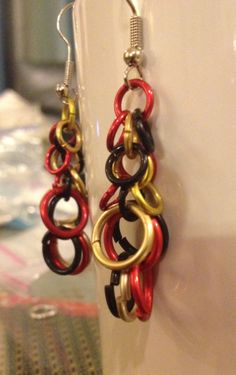 Firefall Chainmaille Earrings  Red Gold and Black by tigermaille, $17.00