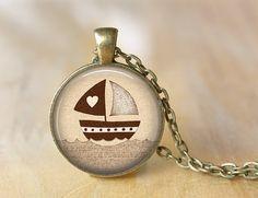 Sea Necklace Women Ship Boat Nautilus Jewelry Art by PrintGlass