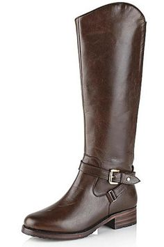 """Chic, sumptuous and oh-so versatile best describes Ravel's Langley knee high leather boots. An understated knee high boot with equestrian style wrap around buckle feature and low stacked heel are encompassed on this Ravel leather boot, making it the perfect option for everyday, casual wear.    Heel height: 3.5 cm / 1.3""""   Brown Langley Boots  by Ravel. Shoes - Boots - Flat Tyne and Wear, North East England, England, United Kingdom"""