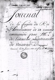 Janvier 1780 - Carnet de bord de l'Hermione originale - 1 (Source: CARAN, cote B/4/153)