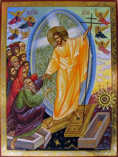 Orthodox icon of the Resurrection of Christ Religious Images, Religious Icons, Religious Art, Byzantine Icons, Byzantine Art, Greek Icons, Holy Saturday, Christ Is Risen, Jesus Christus