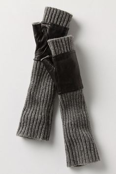Ribbed Cashmere Gloves - knit up fingerless mitt/glove, take an old leather glove, cut fingers, sew up hems, slip over knitted glove and ta da!
