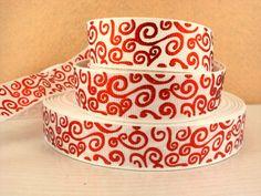 White Red Swirl 7/8 22mm Grosgrain Ribbon