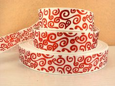 White Red Swirl 7/8 22mm Grosgrain Ribbon