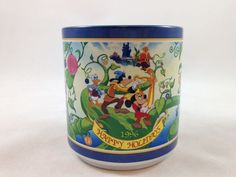 Disney Coffee Mug 1996 Christmas Collection Cup Limited Mickey Donald Goofy