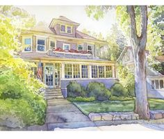 If you looking for a custom house portrait, house painting, house drawing painted in watercolor I will be glad to create it for you! Any size is available! House Sketch, House Drawing, Watercolor Portraits, Watercolor Paintings, Watercolors, Your Paintings, Original Paintings, First Home Gifts, Wedding Painting
