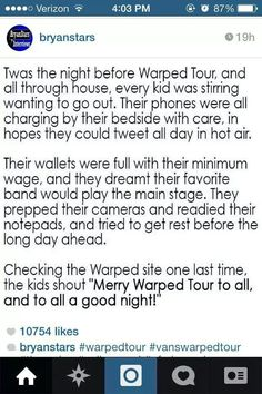 I wish Bryan was talking about me right there. I wanna go to Warped