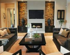 The stone is so beautiful in this living room