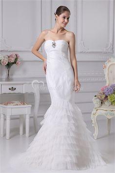 Sin mangas vestido de novia de sirena de exterior 001