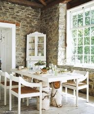 Shabby Chic Airy Space With Rustic Dining Room Set - White Wooden Dining Table And Chairs With Rattan Style At Home, Sweet Home, Storybook Cottage, My Ideal Home, Table Legs, Trunk Table, Stump Table, Log Table, Patio Table