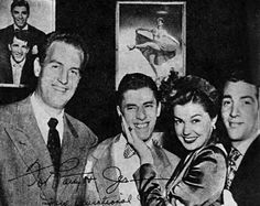 Esther Williams and Ben Gage visiting Dean Martin and Jerry Lewis after a show at the Copacabana, 1948.