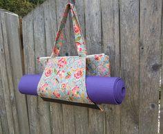 Workout Yoga Bag  portfolio style  bright blue by SkinnyBugStudio
