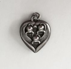 VINTAGE STERLING PUFFY HEART - LILY OF THE VALLEY FLOWERS