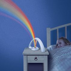 With the simple click of a button, watch the magical rainbow across the walls and ceilings. The colourful LEDS bring the magic, colour and happiness of rainbows into your child's bedrooms and dreams. Bring your child's imagination to life with this magical Night Light.