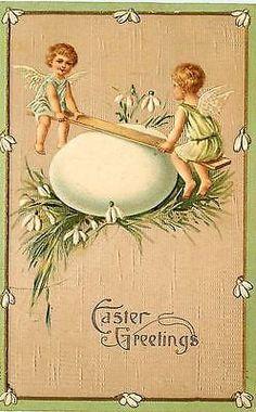 Easter 1908 Cherubs See Saw on Easter Egg Antique Vintage Embossed Postcard