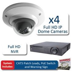 BestCCTVprices.co.uk, Dome 4 Camera Full HD IP CCTV Kit, HD IP CCTV Systems, Complete CCTV Systems - HD IP CCTV Systems