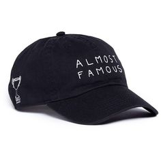 Nasaseasons 'Almost Famous' embroidered baseball cap (¥9,680) ❤ liked on Polyvore featuring accessories, hats, black, baseball hats, embroidered baseball hats, embroidered hats, baseball caps and embroidered baseball caps