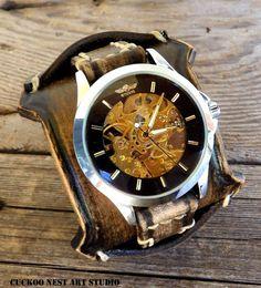 Steampunk watch leather wrist watch Leather by CuckooNestArtStudio