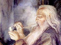 Alan Lee, Frodo and Gandalf Alan Lee, Fellowship Of The Ring, Lord Of The Rings, Lotr, John Howe, Smoking Images, Jrr Tolkien, Gandalf, Making Memories