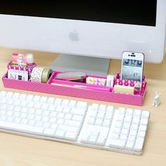Multi Desk top DIY mini storage box in box tray - pink by Byfulldesign. There are many options available for these diy 'build up yourself' desk tidy boxes. These could be perfect too for tray and gift! Do It Yourself Organization, Desk Organization Diy, Diy Desk, Ideas Para Organizar, Ideias Diy, Getting Organized, Organized Office, Office Decor, Office Desk Accessories