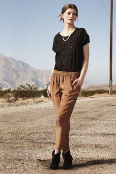 Black lace, brown pants, booties